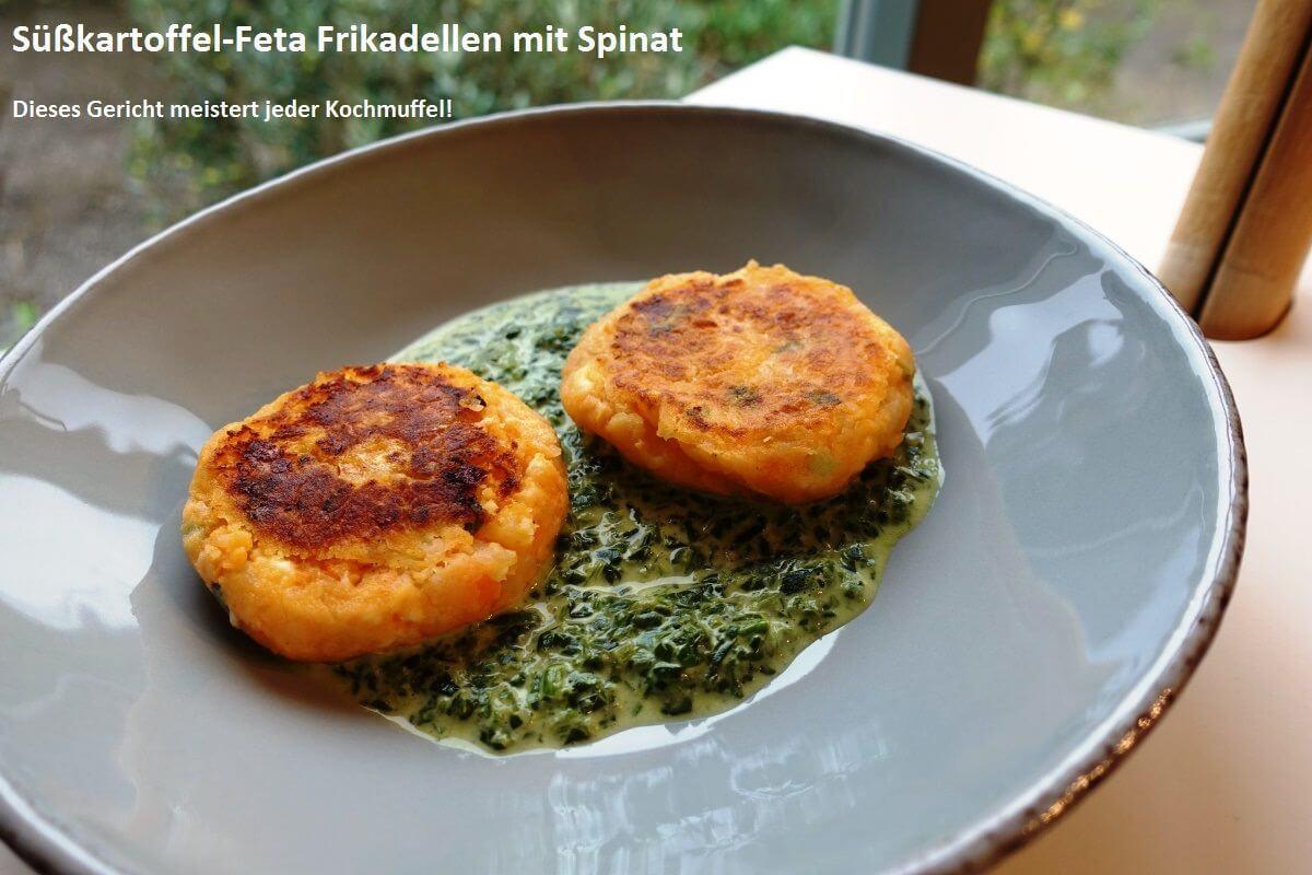 Süßkartoffel-Feta-Frikadellen mit Spinat