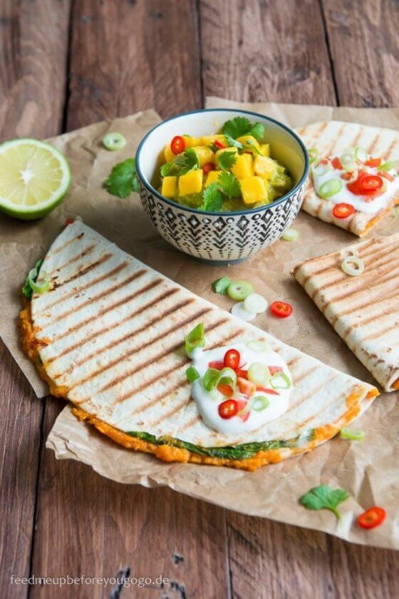 Süßkartoffel-Spinat-Quesadillas